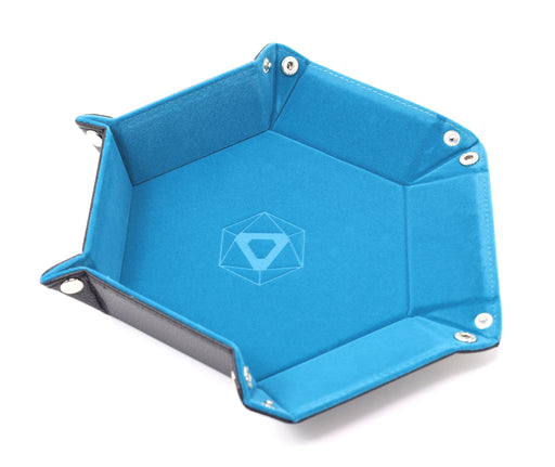 Dice Tray (10x12in) Hex Leather Black / Velvet Teal
