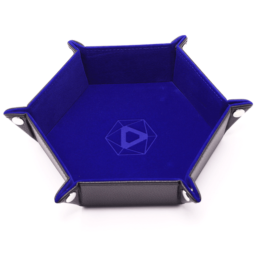 Dice Tray (10x12in) Hex Leather Black / Velvet Blue