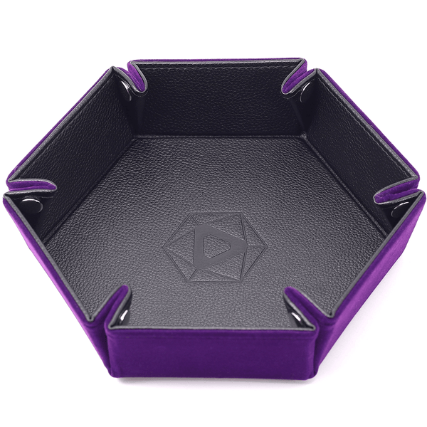 Dice Tray (10x12in) Hex Leather Black / Velvet Purple