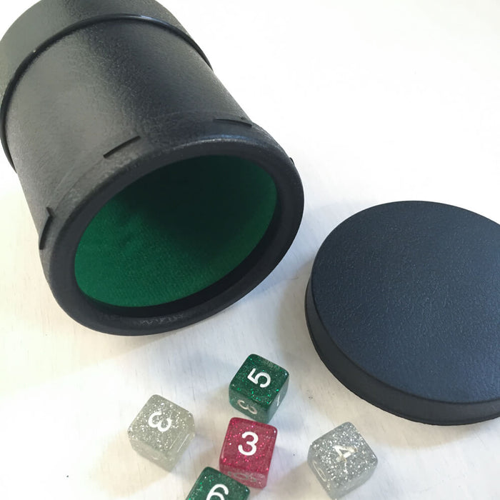 Dice Cup w/ Lid Black Plastic Green Velvet Lining