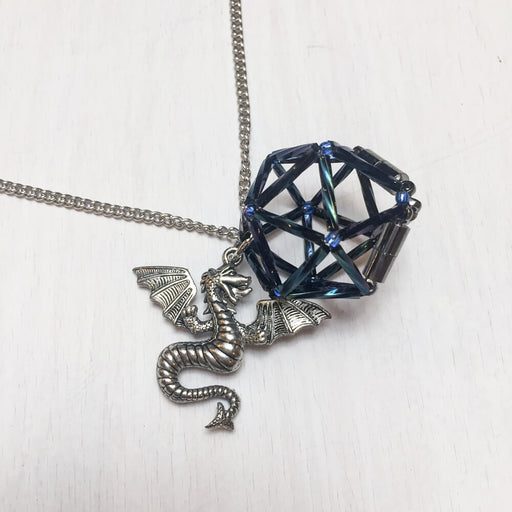 Necklace d20 Charm : Dragon Midnight Blue