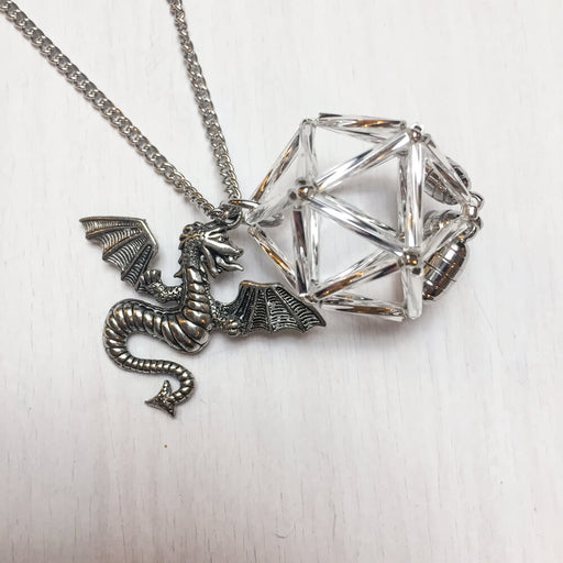 Necklace d20 Charm : Dragon Silver