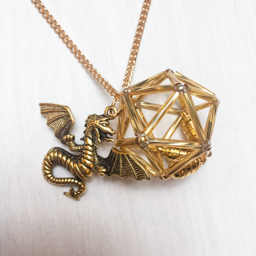 Necklace d20 Charm : Dragon Gold