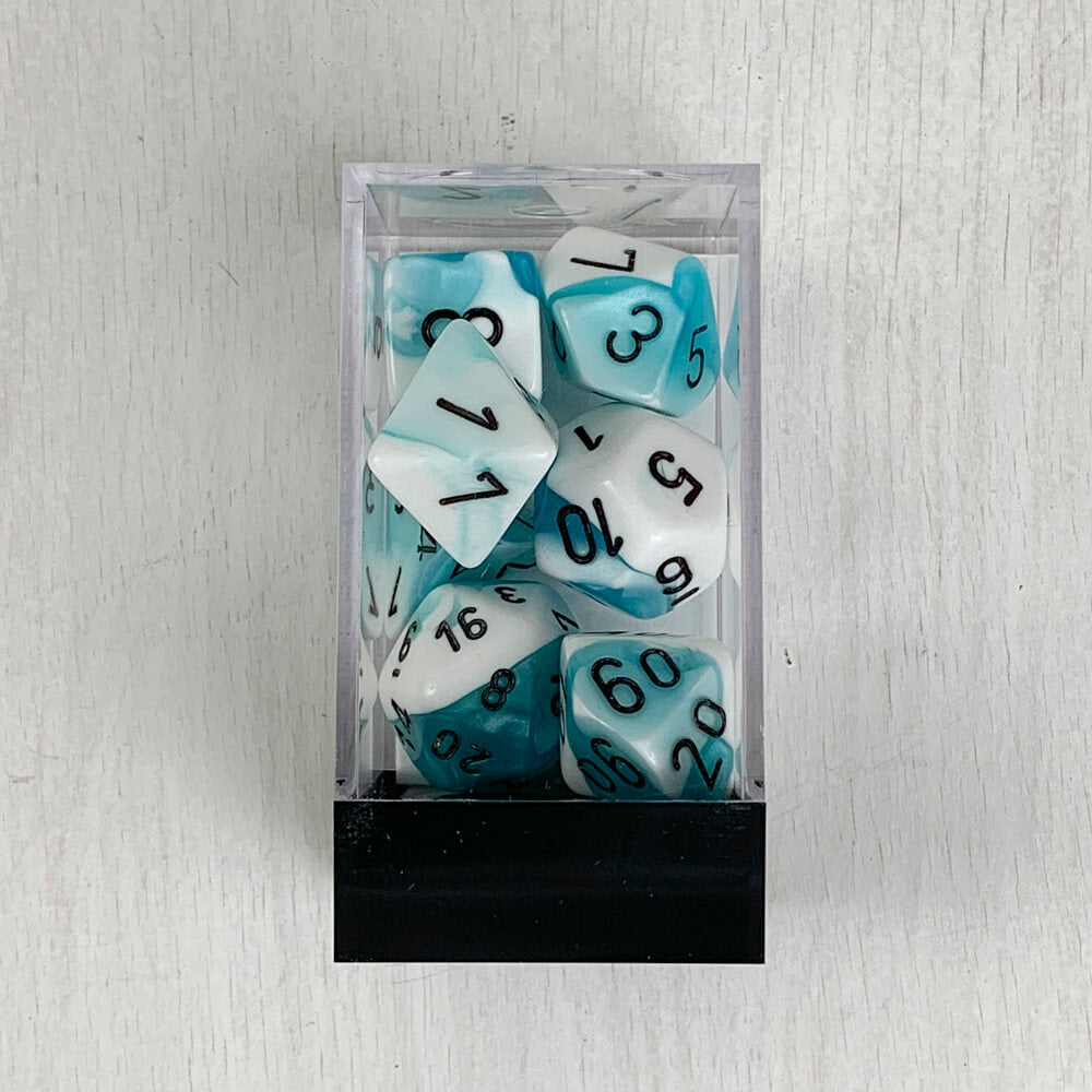 Dice 7-set Gemini (16mm) 26444 Teal White / Black