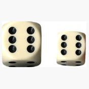 Dice Set 12d6 Opaque (16mm) 25600 Ivory / Black
