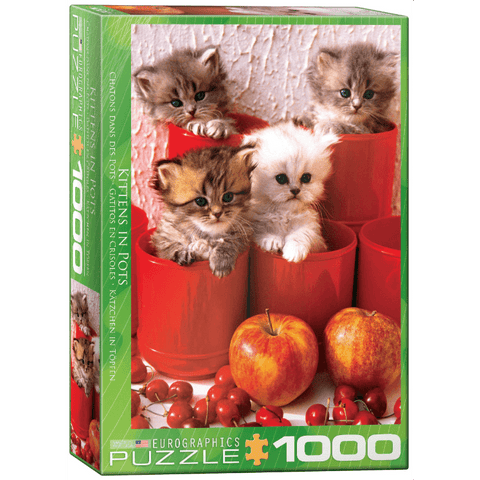 Puzzle (1000pc) Animal Life Photography : Kittens in Pots