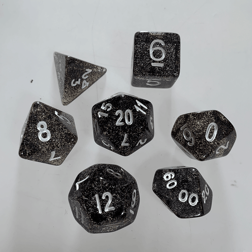 Dice 7-Set Glitter (16mm) Black / White