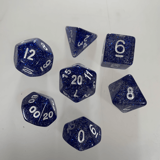Dice 7-Set Glitter (16mm) Blue / White