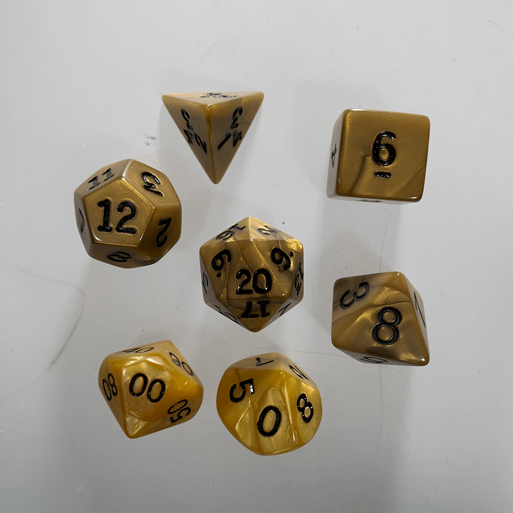 Dice 7-Set Olympic (16mm) Gold / Black