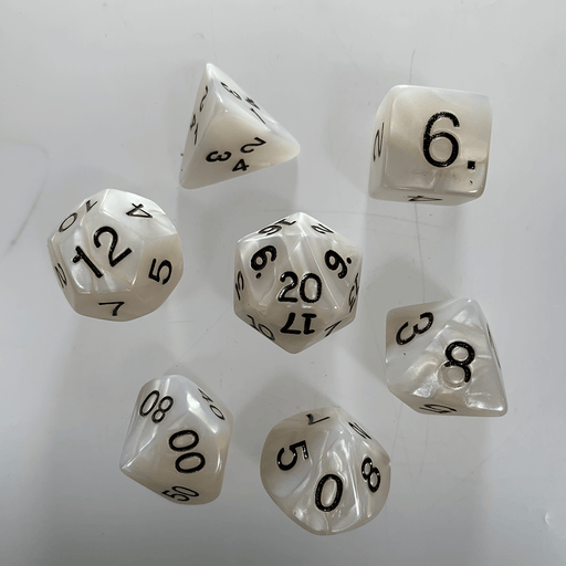 Dice 7-Set Pearlized (16mm) Gray / Black