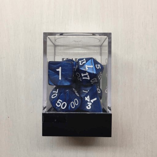 Dice 7-Set Pearlized (16mm) Navy / White