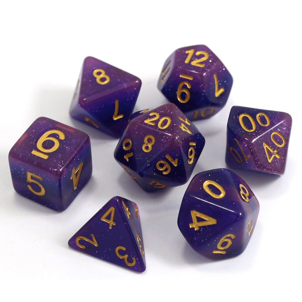 Dice 7-Set Gradient (16mm) Lavender Galaxy