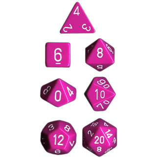 Dice 7-set Opaque (16mm) 25444 Pink / White