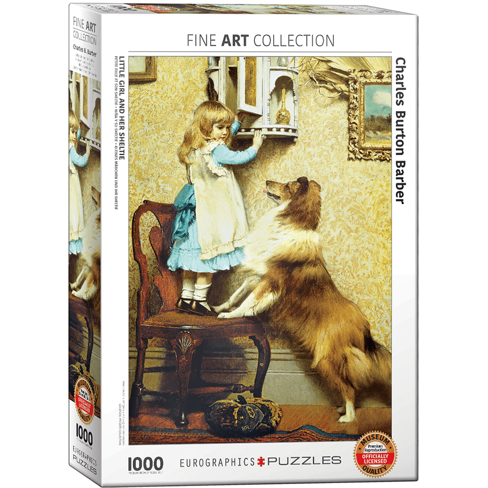 Puzzle (1000pc) Fine Art : Little Girl and her Sheltie