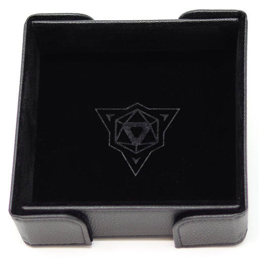 Magnetic Dice Tray (8x8in) Square Leather Black / Velvet Black
