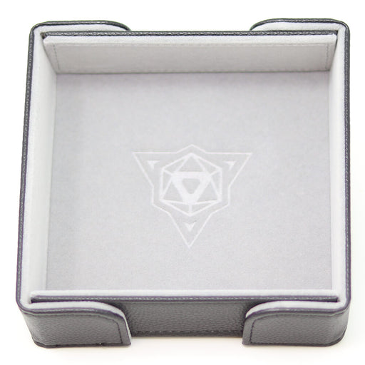Magnetic Dice Tray (8x8in) Square Leather Black / Velvet Gray