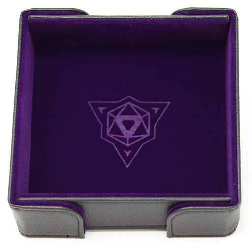 Magnetic Dice Tray (8x8in) Square Leather Black / Velvet Purple