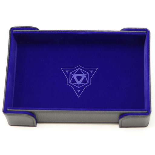 Magnetic Dice Tray (8x11in) Leather Black / Velvet Blue