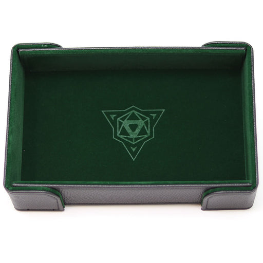 Magnetic Dice Tray (8x11in) Leather Black / Velvet Green