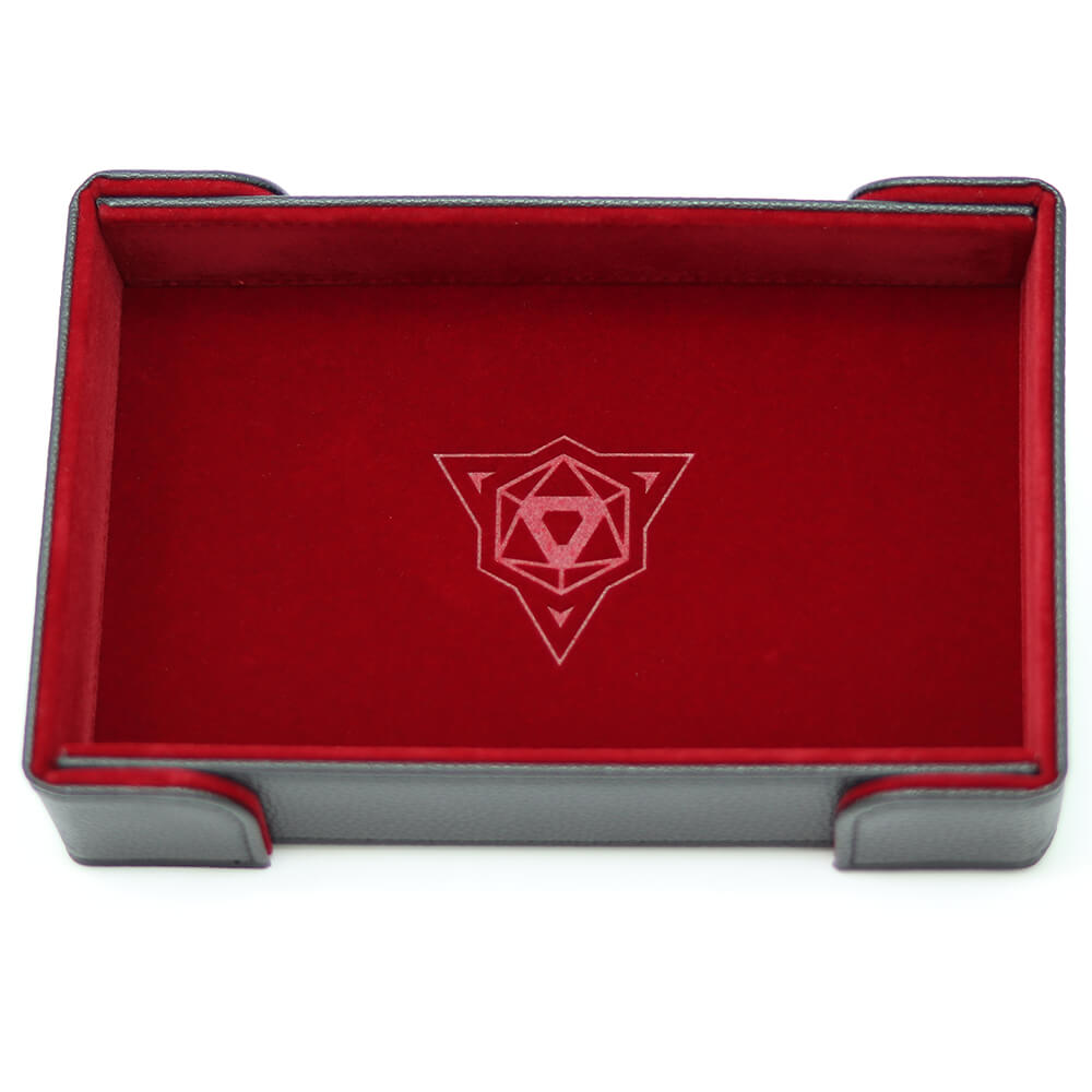 Magnetic Dice Tray (8x11in) Leather Black / Velvet Red