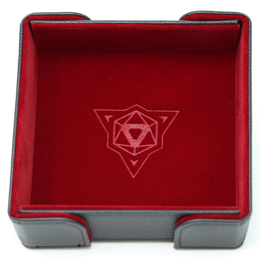 Magnetic Dice Tray (8x8in) Square Leather Black / Velvet Red