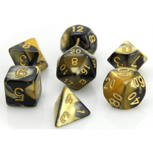 Dice 7-set Marble (16mm) Yellow Black