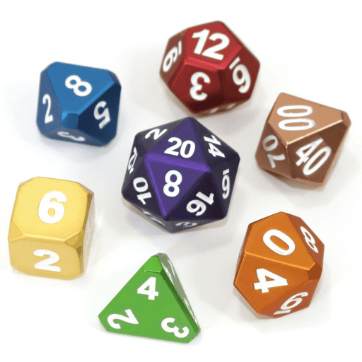 Dice 7-set Metal (16mm) Frosted Rainbow Mix