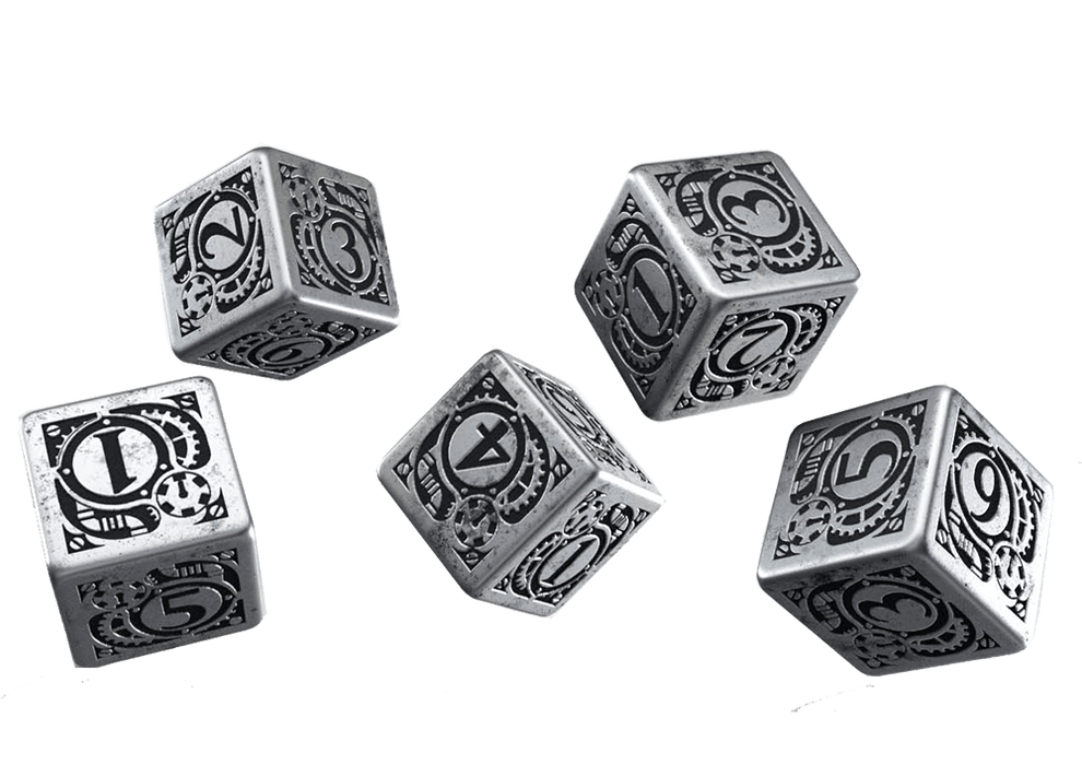 Dice Set 5d6 Metal (16mm) Steampunk