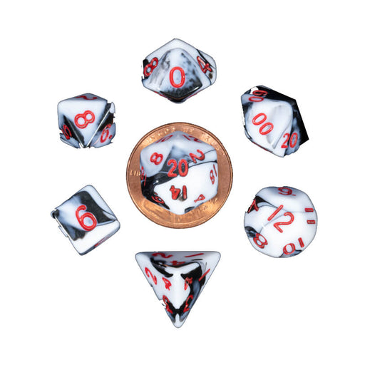 Dice 7-set Mini Opaque (10mm) Marble / Red