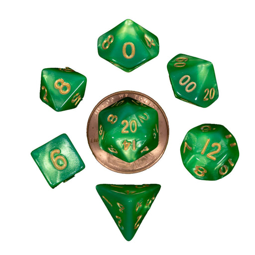 Dice 7-set Mini Opaque (10mm) Green Light / Gold