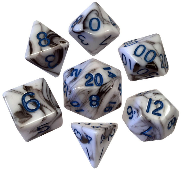 Dice 7-set Mini Opaque (10mm) Marble / Blue
