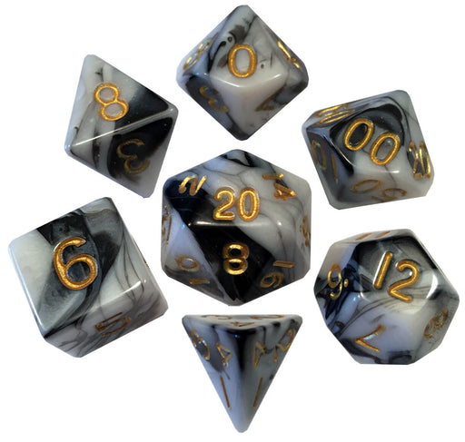 Dice 7-set Mini Opaque (10mm) Marble / Gold