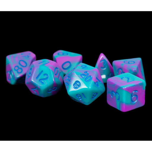 Dice 7-set Mini Opaque (10mm) Purple Teal / Blue