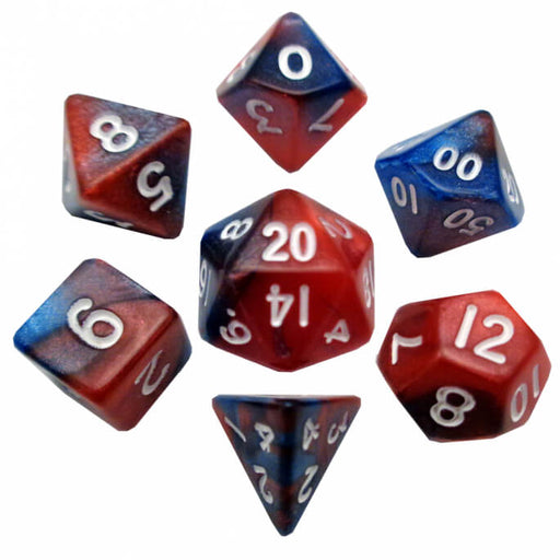 Dice 7-set Mini Opaque (10mm) Red Blue / White