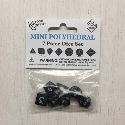 Dice 7-set Mini Opaque (10mm) Black / Blue