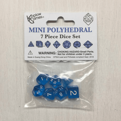 Dice 7-set Mini Translucent (10mm) Blue / White