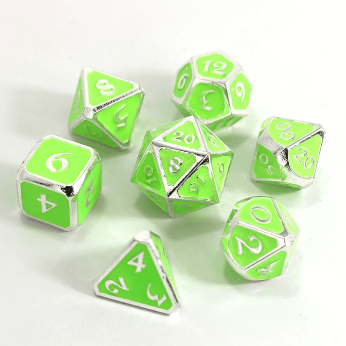 Dice 7-set Metal Mythica (16mm) AfterDark Neon Rave