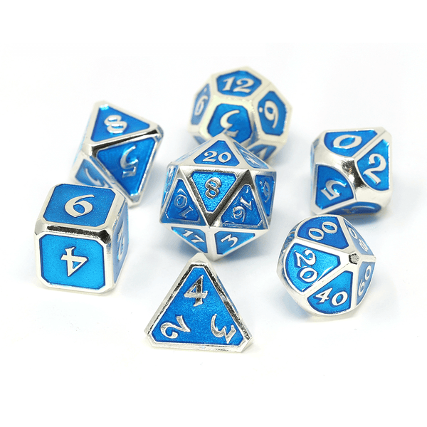 Dice 7-set Metal (16mm) Mythica Aquamarine