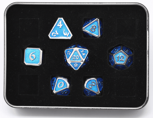 Dice 7-set Metal Mythica (16mm) Platinum Aquamarine