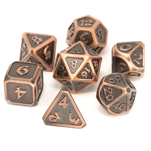 Dice 7-set Metal Mythica (16mm) Battleworn Copper