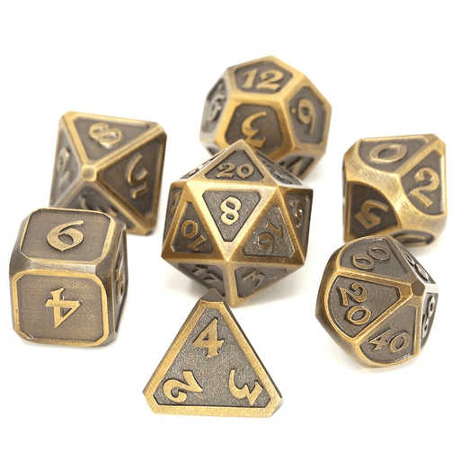 Dice 7-set Metal Mythica (16mm) Battleworn Gold