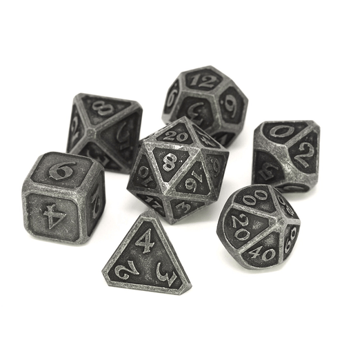 Dice 7-set Metal Mythica (16mm) Dark Iron