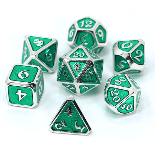 Dice 7-set Metal (16mm) Mythica Emerald