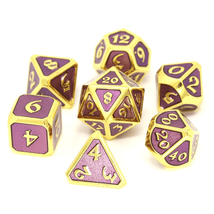 Dice 7-set Metal Mythica (16mm) Gold Amethyst