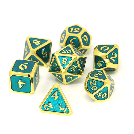 Dice 7-set Metal (16mm) Mythica Gold Aquamarine
