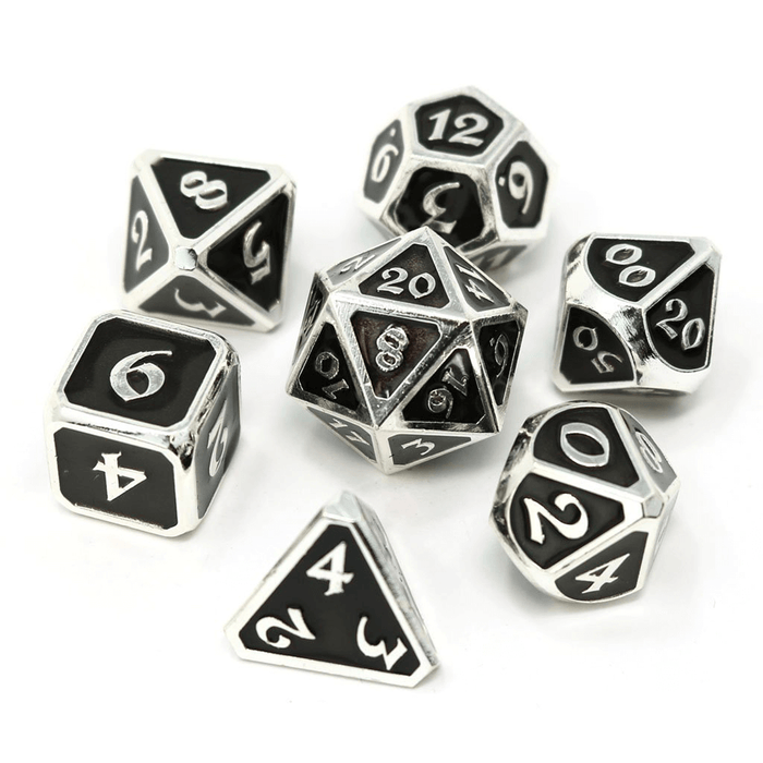 Dice 7-set Metal Mythica (16mm) Platinum Onyx