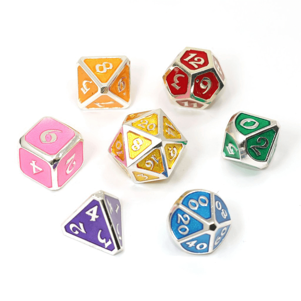 Dice 7-set Metal Mythica (16mm) Platinum Rainbow