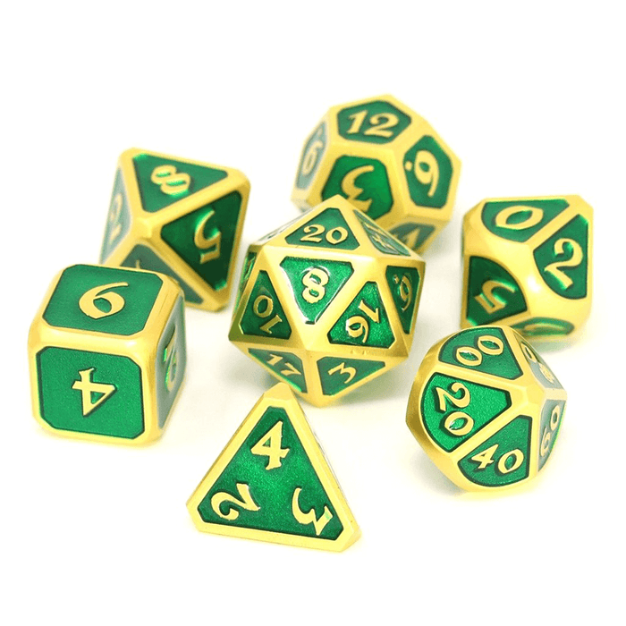 Dice 7-set Metal Mythica (16mm) Satin Gold Emerald