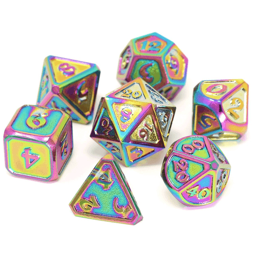 Dice 7-set Metal (16mm) Mythica Scorched Rainbow