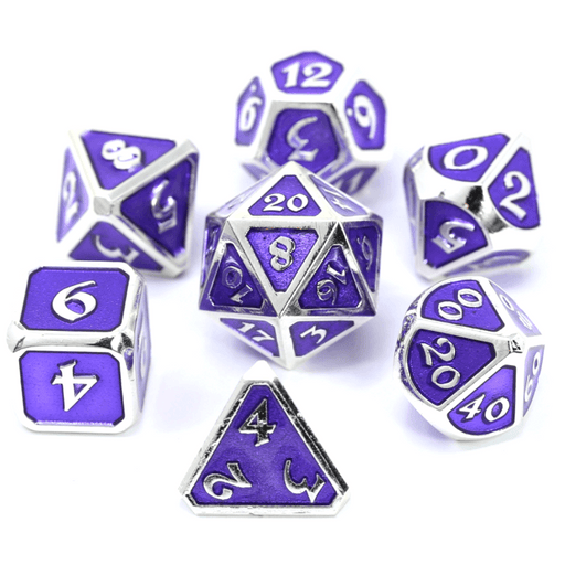 Dice 7-set Metal Mythica (16mm) Platinum Amethyst